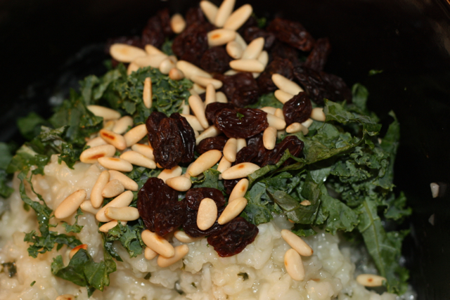 kale, raisins, pinenuts
