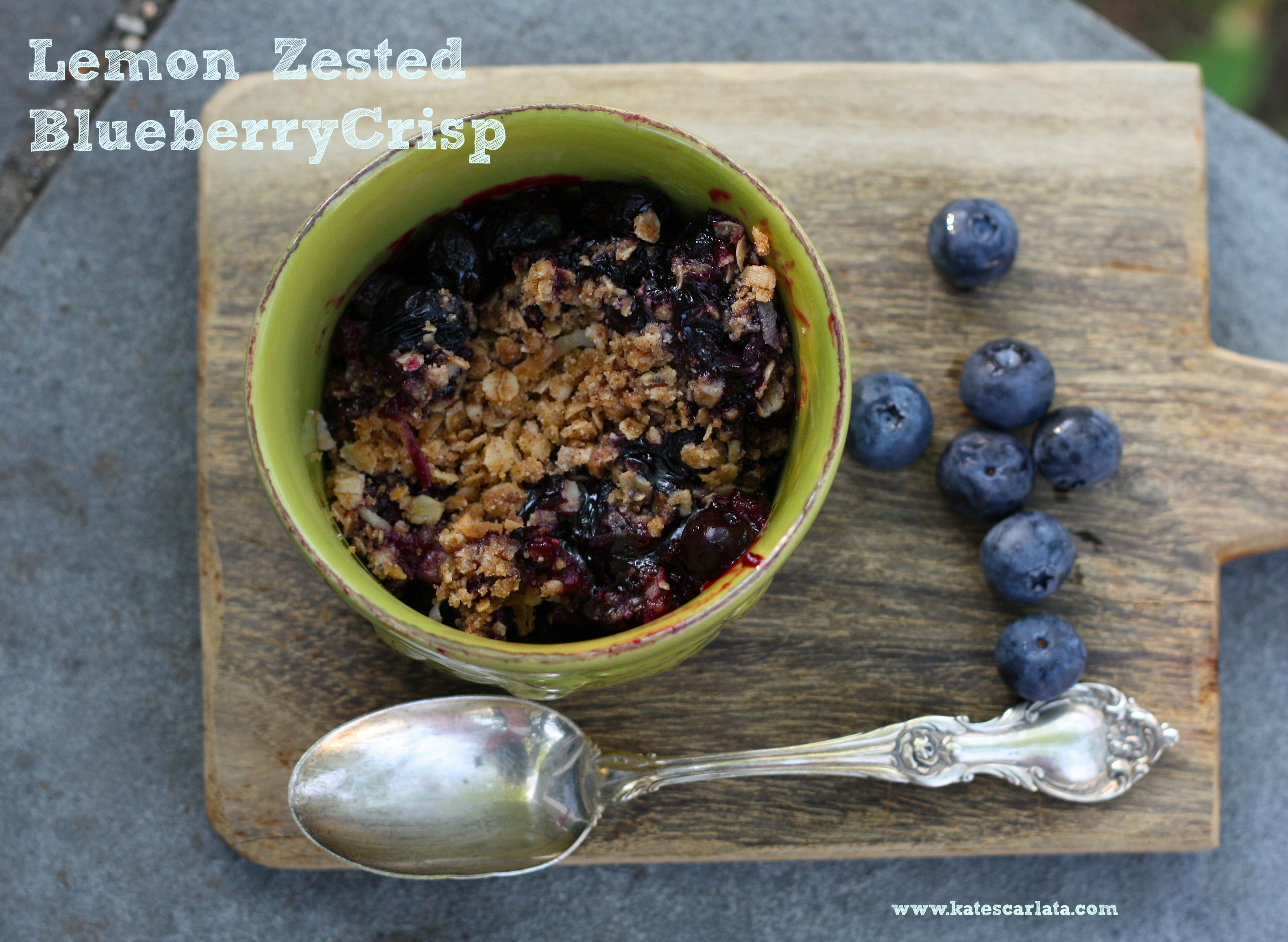 lemon zested blueberry crisp ready to eat