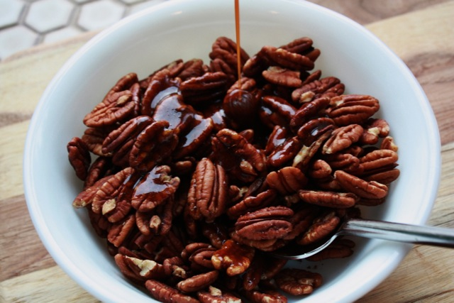 spiced nuts drizzled