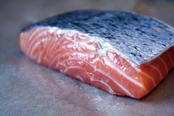 salmon skin up