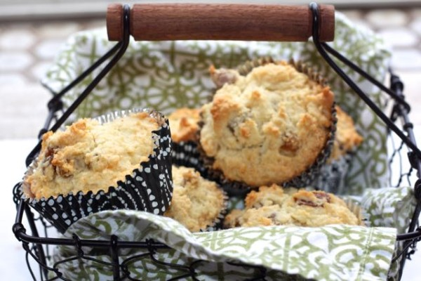 Irish muffin bread in basket