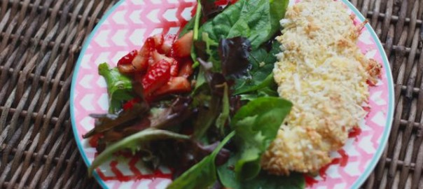 Strawberry Salad and Coconut Chicken