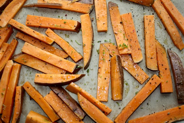 I Partially Cooked My Sweet Potato So That It Would Be A Bit Easier To Cut Into Fries But You Can Do This Recipe With An Uncooked Sweet Potato Too Just