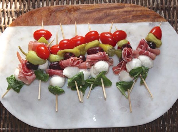 Antipasto skewers plated