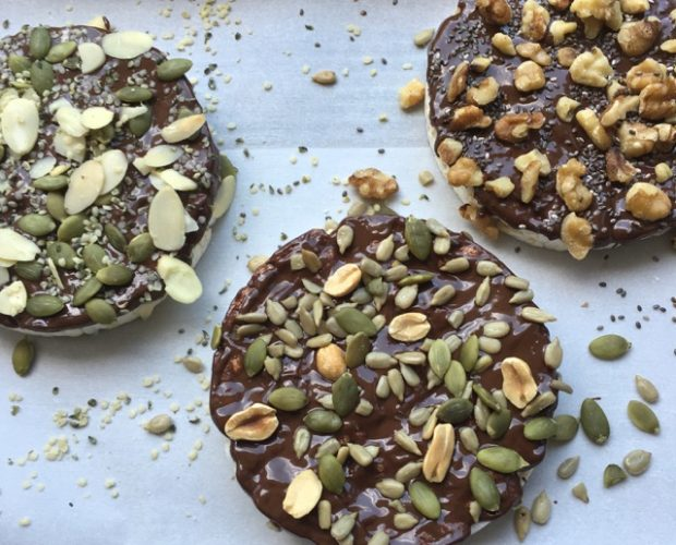 chocolate and seeded rice cake