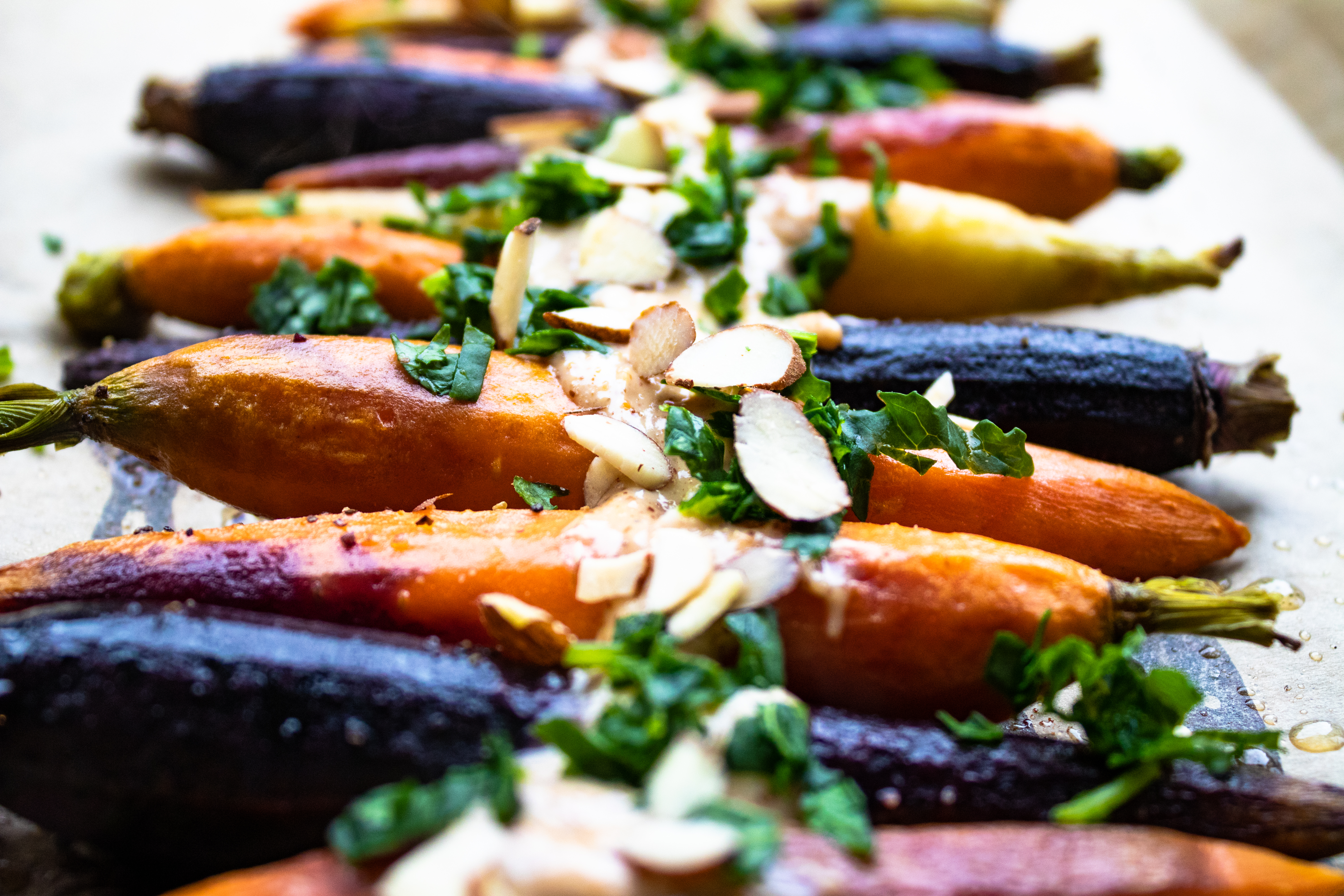 Roasted Carrots with Maple, Yogurt + Almond Topping