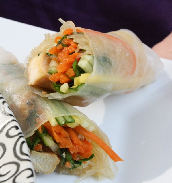 Asian Salad and Sesame Chicken Spring Roll [FODMAP-friendly]