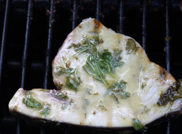 Lemon Garlic Basil Swordfish Steaks