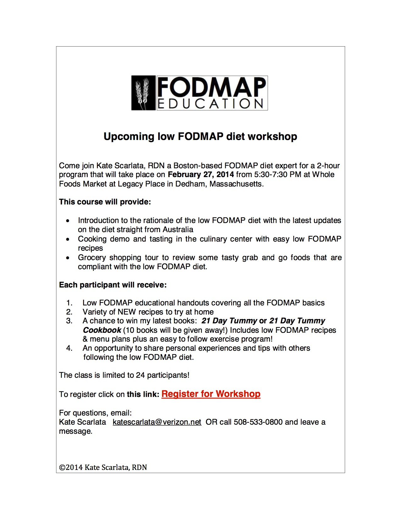 FODMAP Workshop Legacy