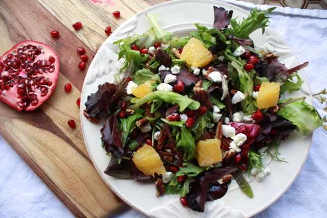 Baby Greens with Pomegranate, Goat Cheese, Orange & Pecans