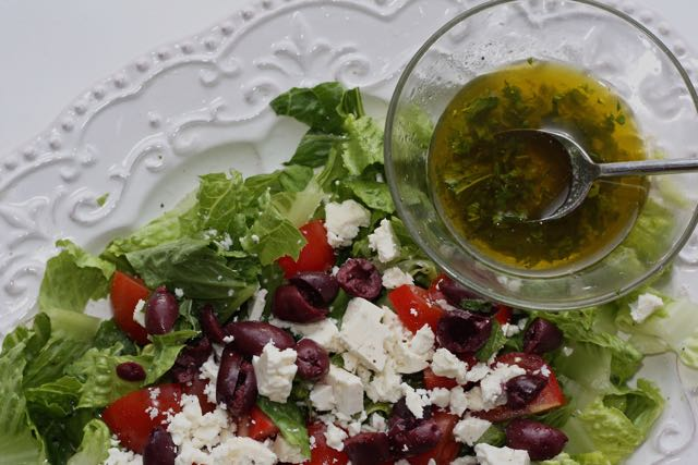 Greek Salad with Lemon Mint Vinaigrette
