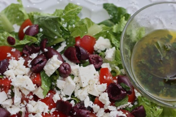Ready to dress Greek salad