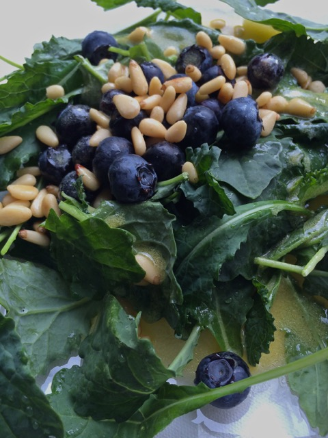 Blueberry Kale Salad with Pine Nuts