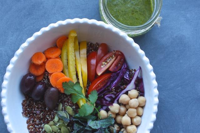 Quinoa Kale Low FODMAP Vegan Nourish Bowl