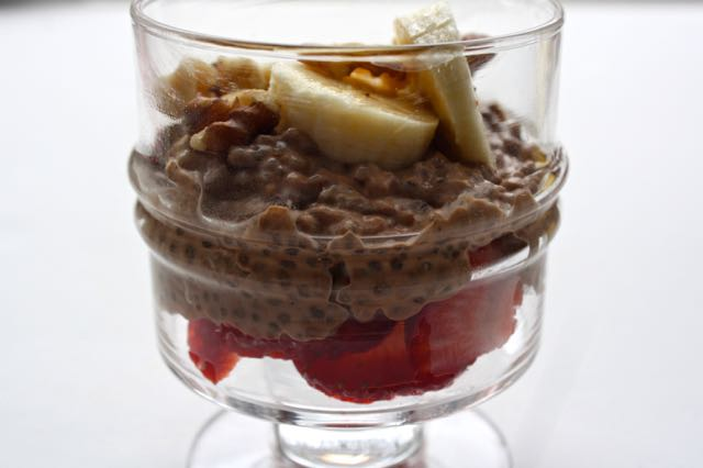 Chia pudding close up