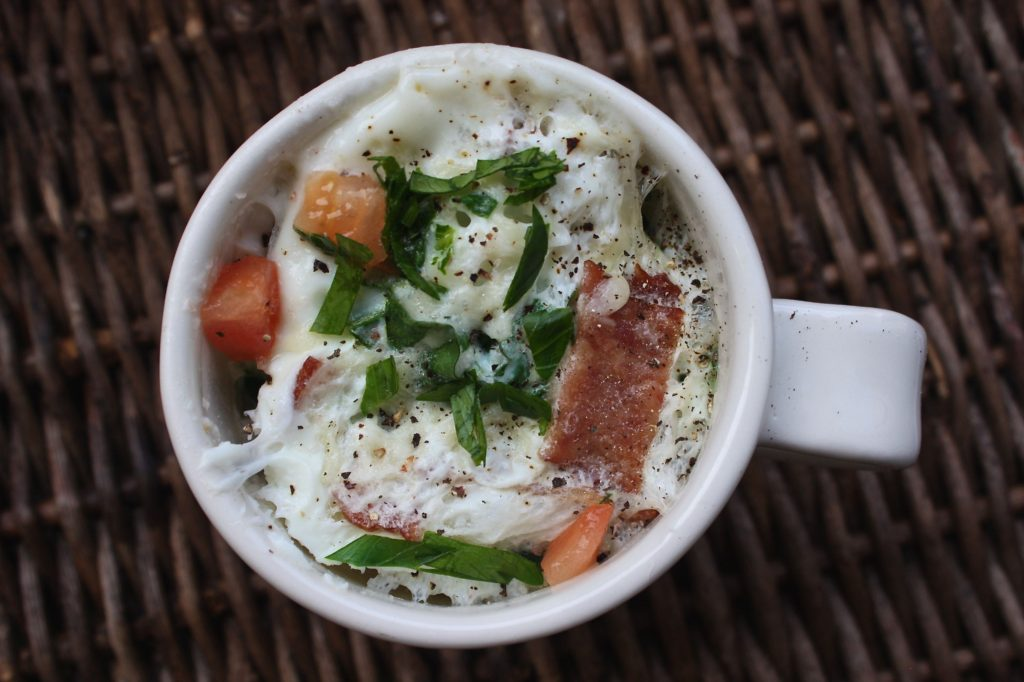 Kale, Bacon, Tomato  Egg White Omelet in a Mug
