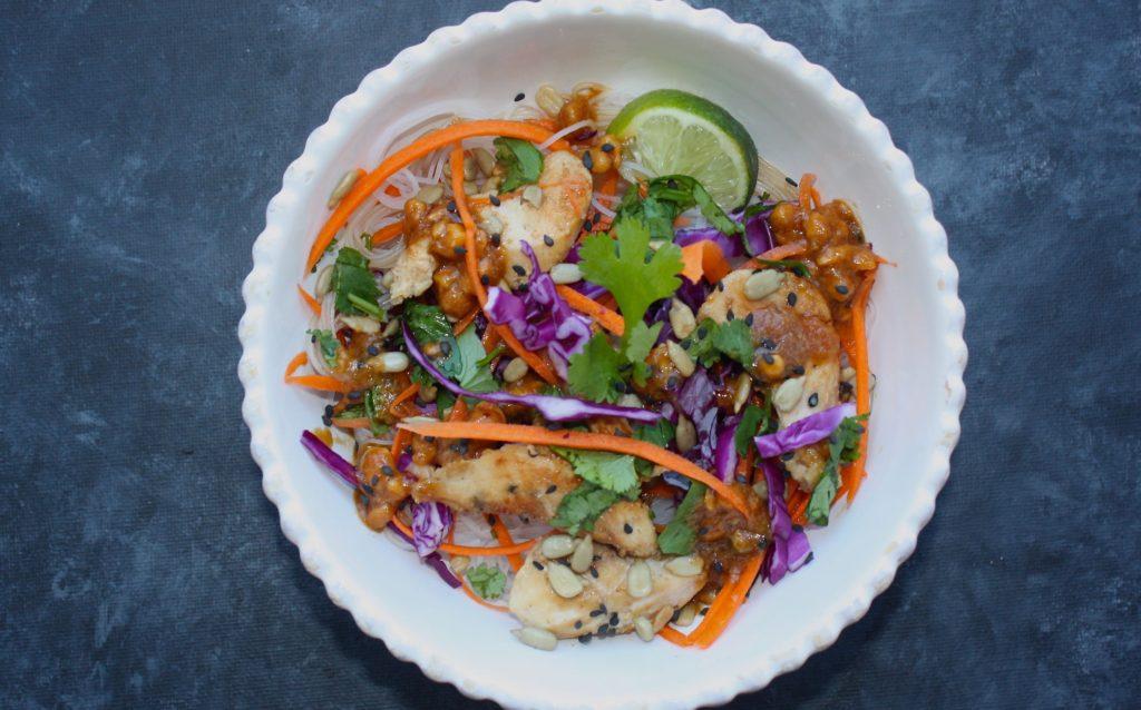 Chicken Rice Bowl with Thai Peanut Sauce