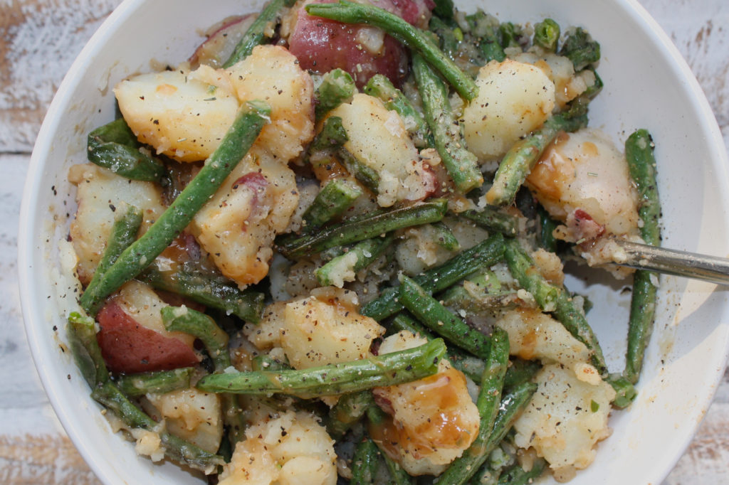 Cold Potato and Green bean salad with Balsamic Maple Dressing