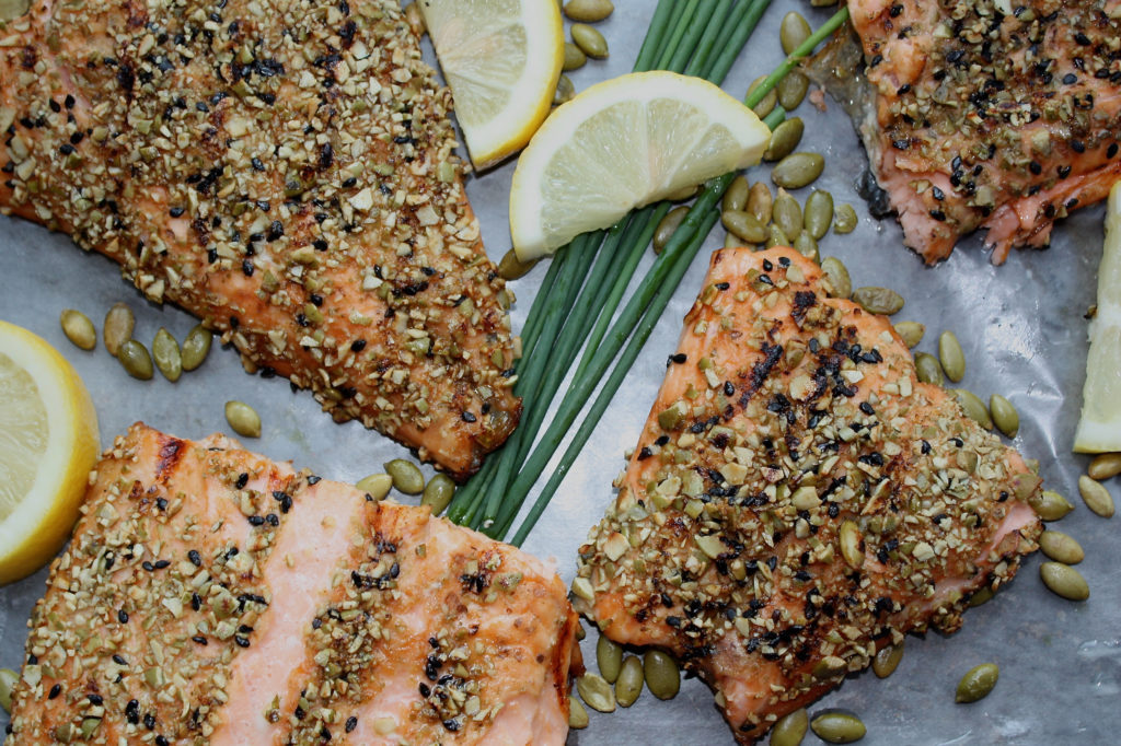 Pumpkin & Sesame Seed Crusted Salmon