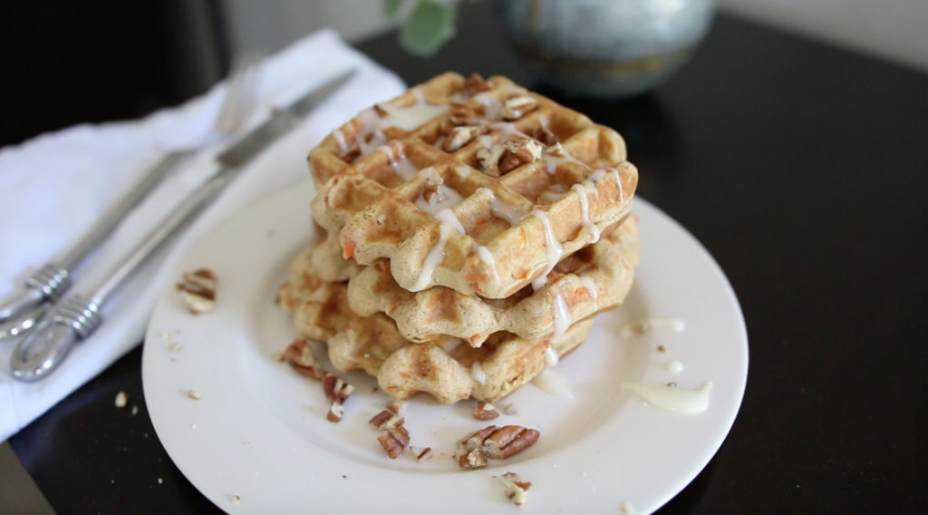Carrot Cake Waffles with Maple Cream Cheese Frosting & Pecans