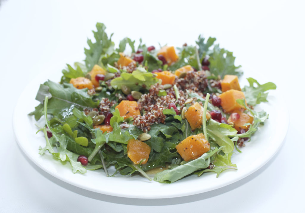 Kale, Quinoa, Butternut Squash and Pomegranate Salad
