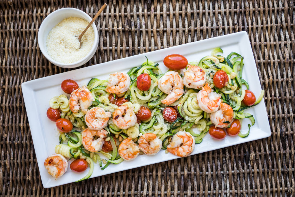 Roasted Tomatoes, Shrimp and Zoodles