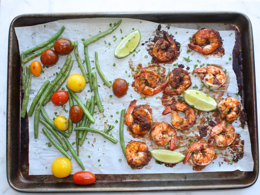 One Pan Roasted Shrimp Adobo with Tomatoes and Green Beans