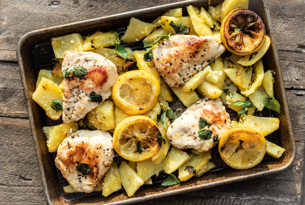 Roasted Greek Lemon Potatoes with Seared Chicken