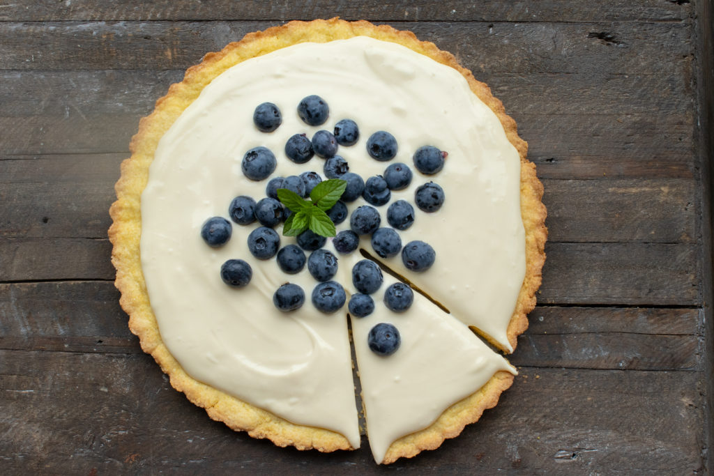 Lemon Blueberry Tart with Cornmeal Crust