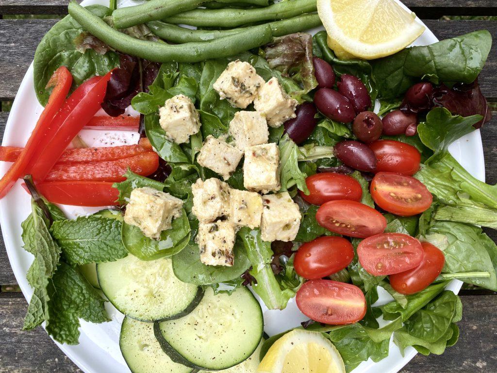 "Mediterranean Salad with Marinated ""Feta- style"" Tofu"